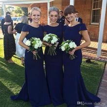 Navy Blue Cap Sleeves Cheap Bridesmaid Dresses Long Bridesmaid Dress Mermaid Style Zipper Back Satin Wedding