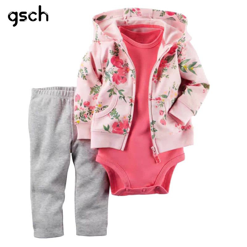 6a6af0752f05 GSCH Newborn Baby Girl Clothes Set 3Pcs Hooded Jacket+ Jumpsuit+ ...
