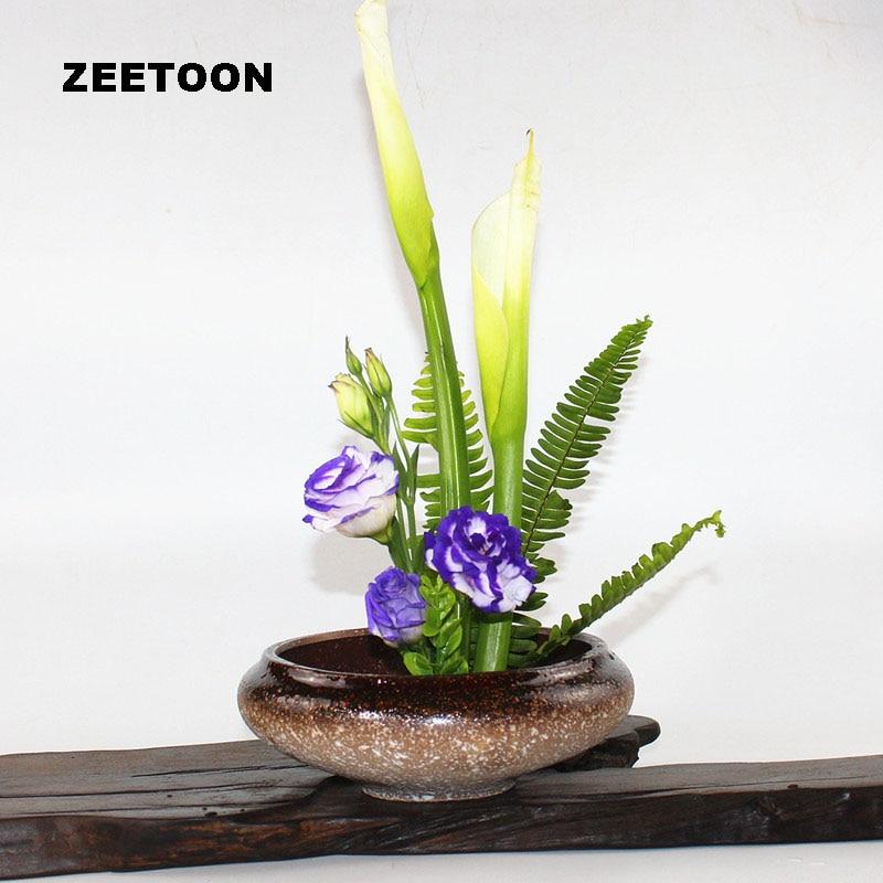 Japanese Ikebana Color Glaze Hydroponic Flowerpot Tabletop