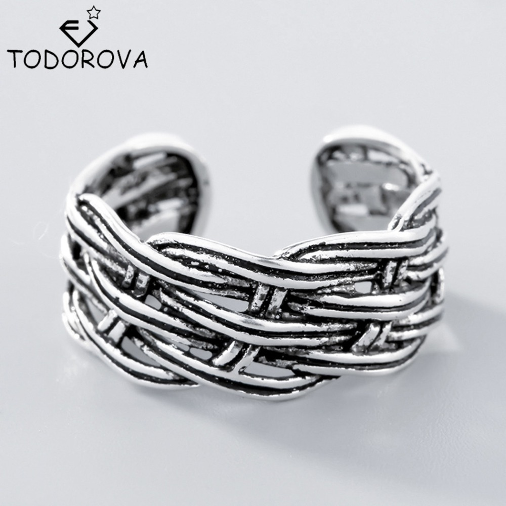 Todorova Solid 925 Sterling Silver Jewelry Weave Rings Men Women Simple Band Strand Braided Romantic Lovers Thai Silver Rings
