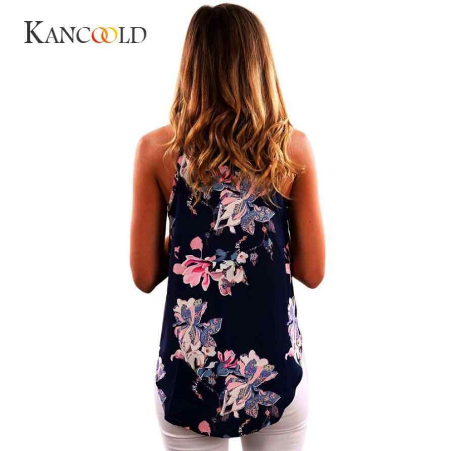 KANCOOLD tank tops cropped Zomer crop top hoodie Vrouwen Mouwloze Bloem Gedrukt Tank Top Casual Blouse Vest T-shirt jan19