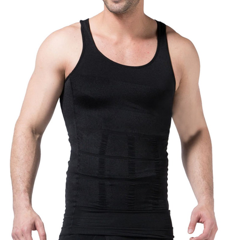 MJARTORIA Men's Solid Color Slimming Body Building Shaper Waist Sports Vest Quick Drying Sleeveless Underwear