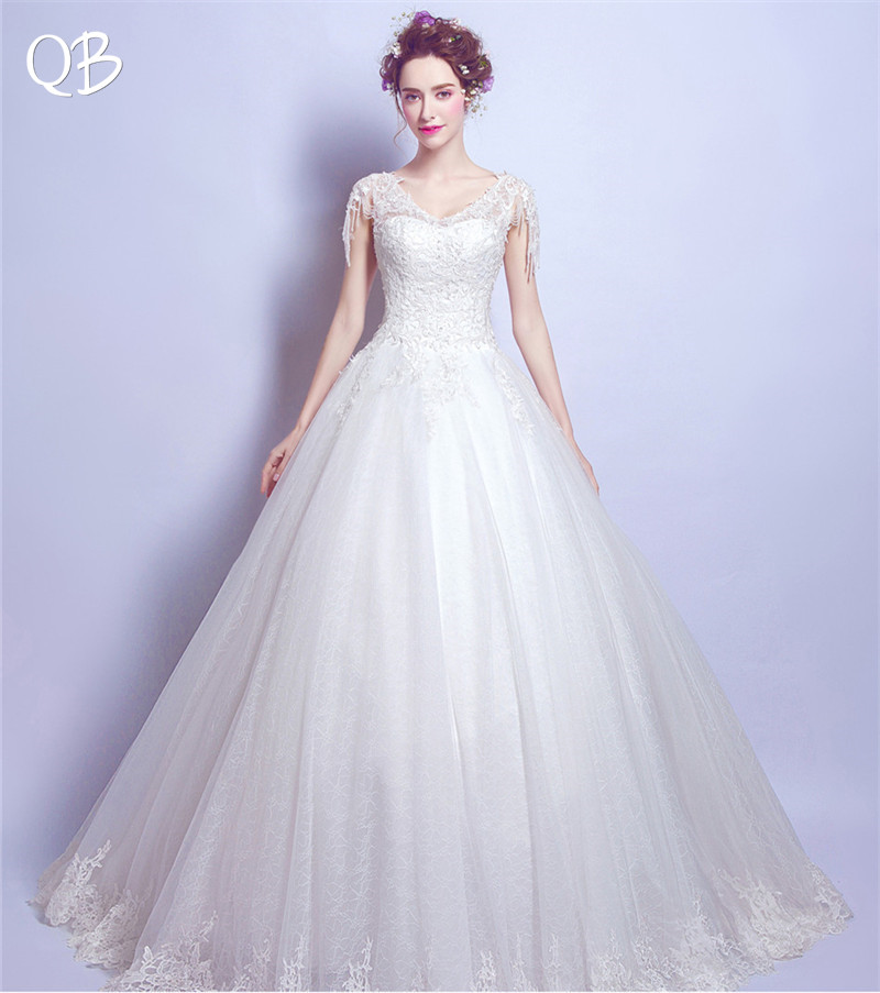 Ball Gown Floor Length Tulle Lace Beading Elegant Formal Wedding Dress 2019 New Fashion Bridal Dresses Wedding Gowns WE33