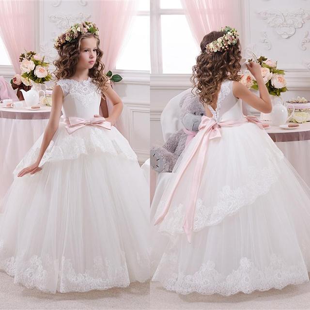 37553c277 € 80.64 |Princesa balón vestido largo de encaje muchachas de flor se viste  para bodas Tulle moño por encargo vestido de primera comunión vestido ...