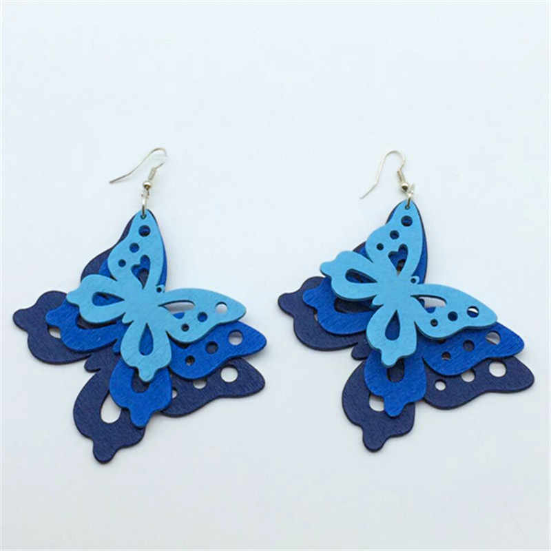 charm butterfly wood earrings accessories three color long customized carton statement jewelry for woman 2016 design new
