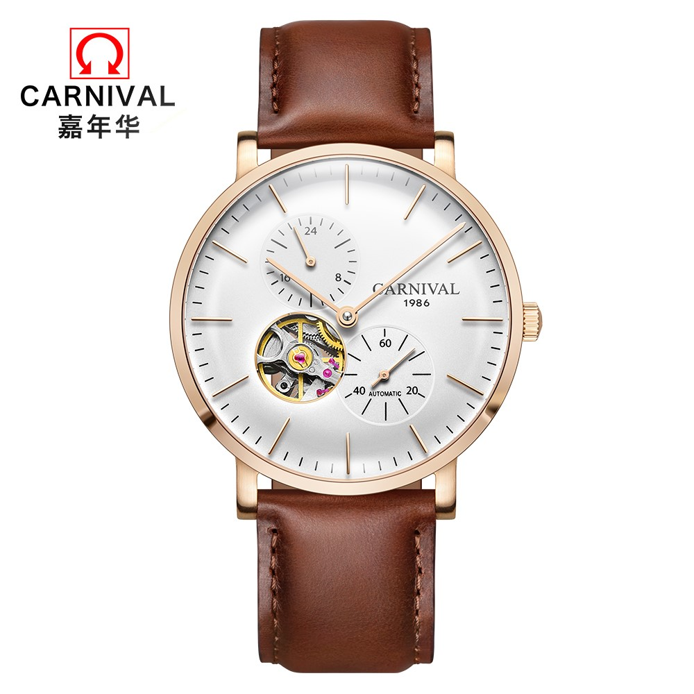 CARNIVAL 2018 Fashion Men's Mechanical Watches Top brand Luxury Tourbillon Automatic Watch Men Small second dial 24hours display triple dial hour second week display automatic mechanical watch for men tevise 356