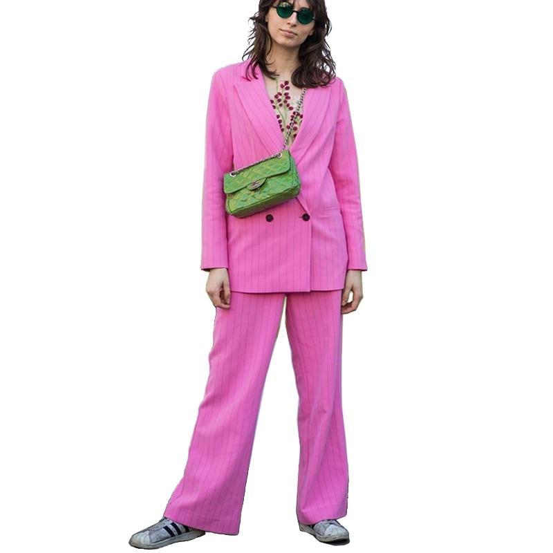 AEL Work Pant Suits OL 2 Piece Sets Striped Blazer Jacket & Zipper Trousers Suit 2018 Autumn Hight Quality Women Clothing