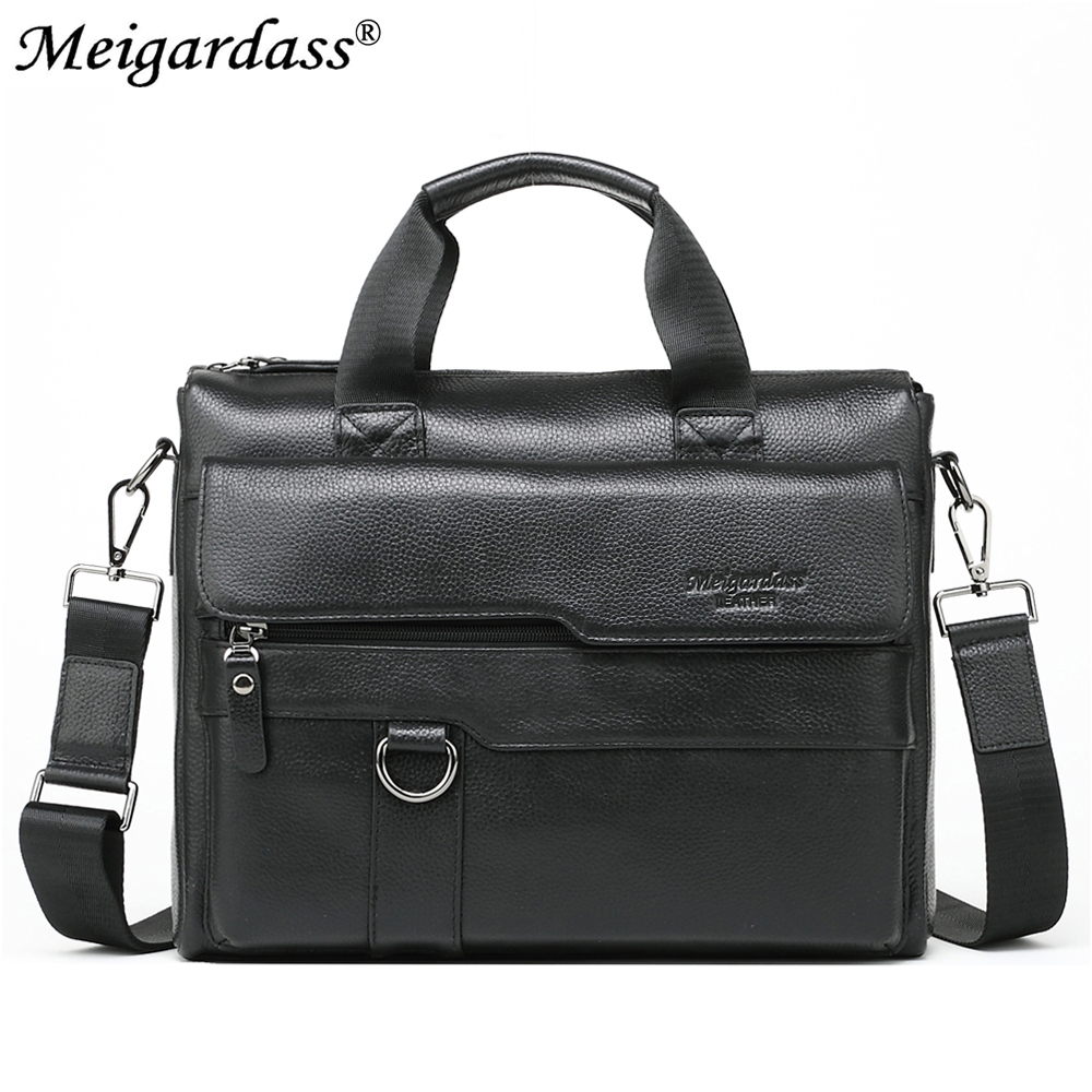 MEIGARDASS Genuine Leather Business Briefcase Men s Office Handbags Male Casual Shoulder Messenger Bags Tote Computer