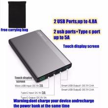 Pour Xiaomi Mi 2 20000 mah Puissance Banque 20000 mah Type-c Powerbank 2 Ports 4.8A USB C 3A pour iPhone Huawei P9 Nexus 5X5 P LG G5
