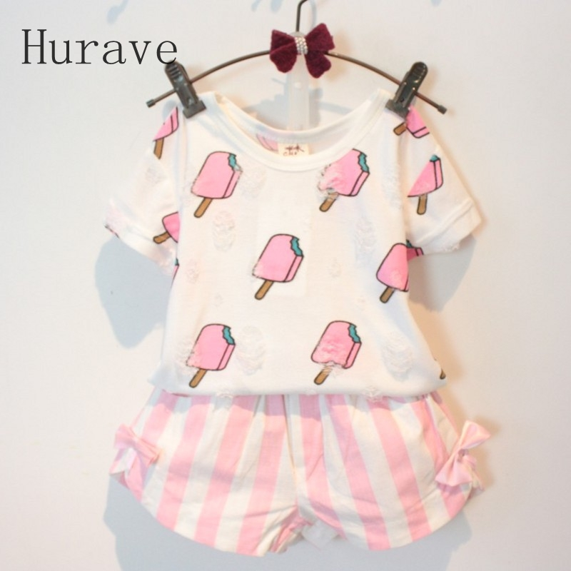 Hurave Summer Style Children Clothing Sets Baby Girls Set Kids Girl Clothes Ice Cream Hole T-shirt & Bow Short Suit 2017 summer style girls clothing set baby girl clothes sets cartoon flower children kids black t shirt skirt white casual suit
