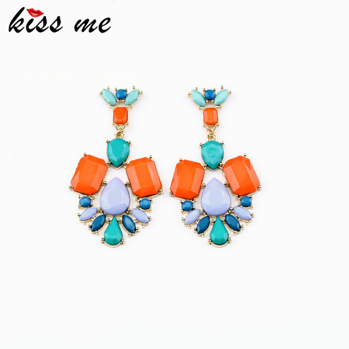 New Styles 2013 Fashion Jewelry Resin Plant Multi color Stud Earrings