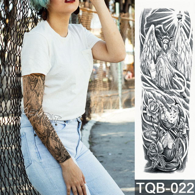 Nueva 4817 Cm Completa Flor Brazo Tatuaje Pegatina Arena Estatua De
