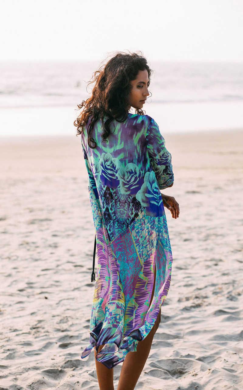 Fitshinling шифоновый пляжный купальный костюм 2018 винтажный принт с разрезом сбоку сексуальная соблазнительная блузка длинный кардиган прозрачная богемная накидка