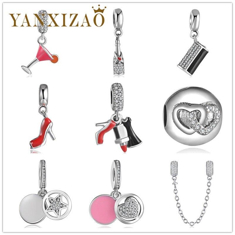 Yanxizao 2018 ezüst 925 cseh varázs gyöngyök illik Pandora cirkon karkötő magas sarkú csillag borospohár alakú DIY ékszer eredetik xin1