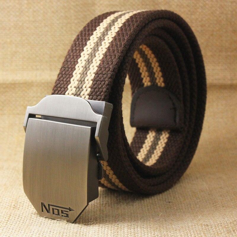 Лучший YBT унисекс тактический ремень, высокое качество, 4 мм, толщина 3,8 см, широкий, Повседневный, Холщовый ремень, для улицы, сплав, автоматическая пряжка, мужской ремень - Цвет: H Coffee stripe