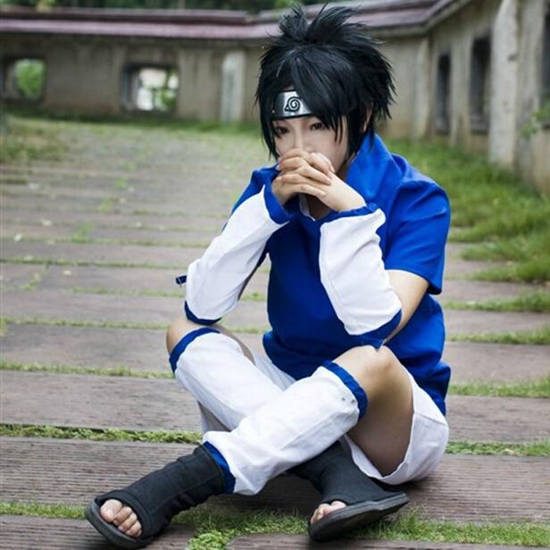 Naruto Akatsuki Sasuke Itachi Coat Orochimaru uchiha madara Uchiha Sasuke Cosplay Costume 4 in 1 top+shorts+oversleeve+leg guard