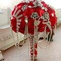 Lindo Buquê de Casamento Da Noiva Com Strass Broche de Pérolas E Flores Do Casamento Bouquet De Noiva de Rosas De Seda Romântico FE25