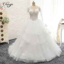 Changjie Wedding Dress 2018 Long Sleeves Chapel Train