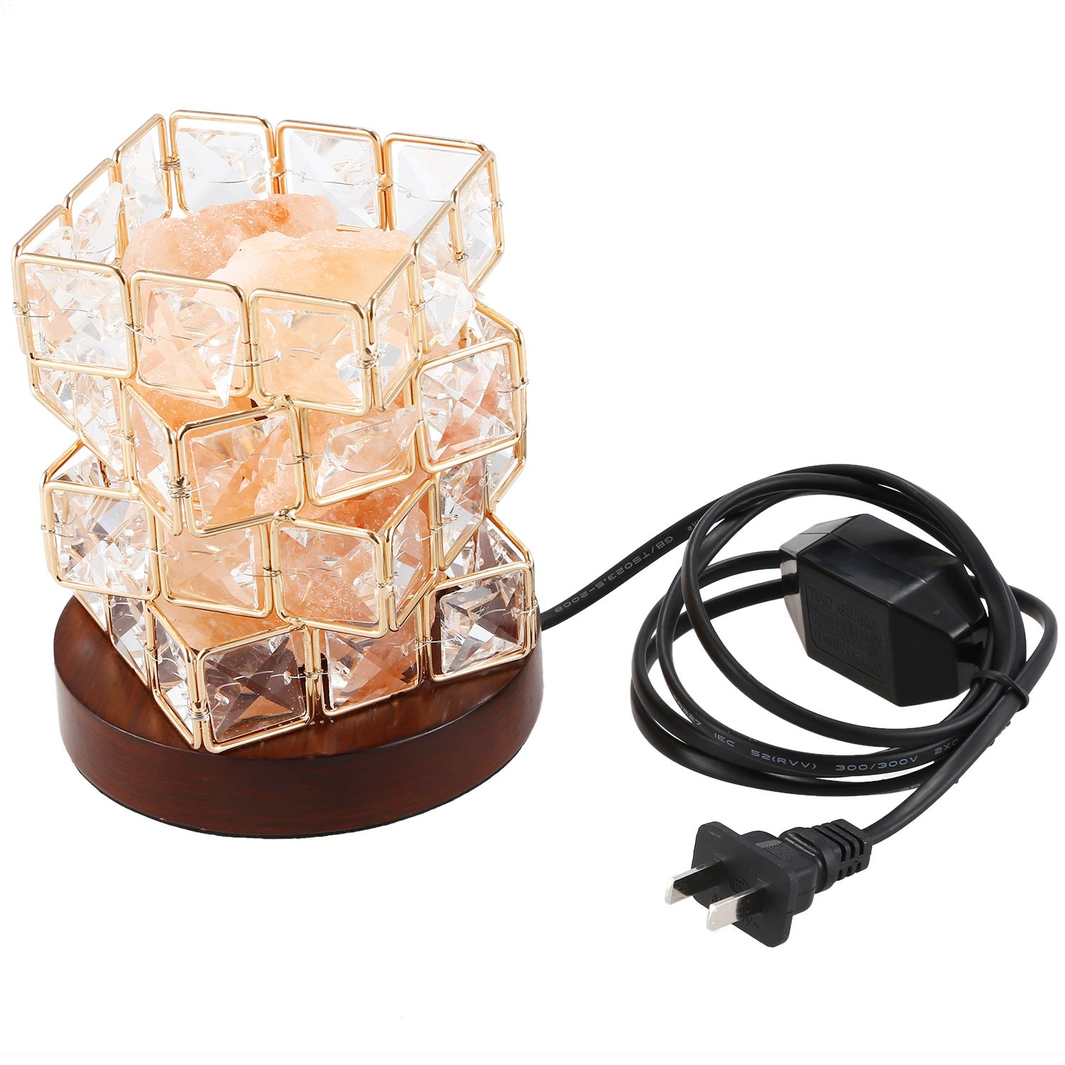 Himalayan Salt Lamp,natural Hymalain Salt Rock In Crystal Basket With Dimmer Switch,ul-listed Cord &wood Base Us Plug Night Lights