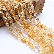 Бусины из натурального камня 8-10 мм, нестандартные цитрин, желтые хрустальные бусины для изготовления ювелирных изделий, браслетов, ожерели...