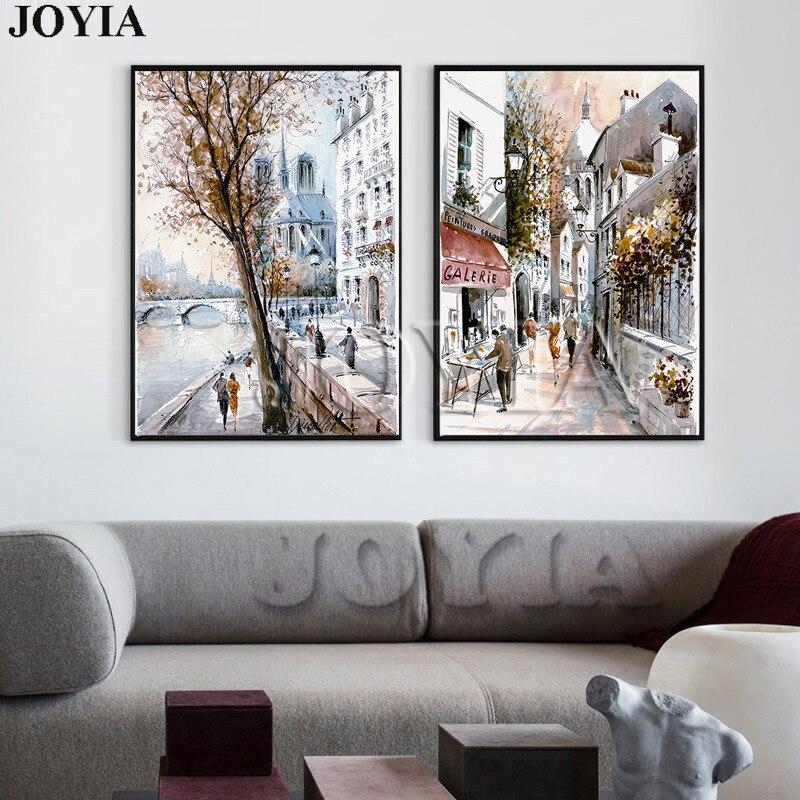 75315c9a8501a الشارع مجردة قماش الفن اللوحة رسم مدينة مشهد طباعة النمط الأوروبي باريس  النفط الطلاء ديكور صور 2 قطعة لا الإطار