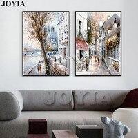 抽象ストリートキャンバスアート絵画スケッチヨーロッパパリ市風景プリントスタイルの油絵の装飾写真2パネル枠なし