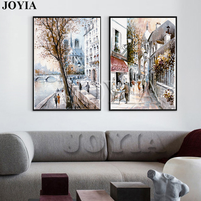 Abstract street canvas art painting sketch european paris city scenery print style oil painting decor pictures