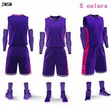 b22b1a9e ZMSM Одежда высшего качества Для мужчин молодежи Баскетбол Джерси комплект  пустой формы баскетбола обучение рубашка карманы