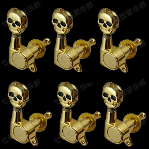 Free Shipping 6R Skull Shape Electric guitar Tuning Peg guitar strings button guitar parts 6pcs/1set цена и фото
