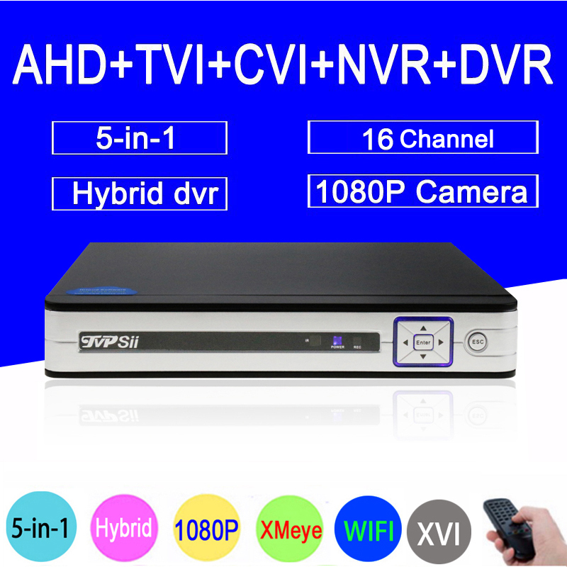 Silver White Panel Hi3521A 1080N 16CH 16 Channel 5 in1 Coaxial Hybrid Wifi CVI TVI NVR AHD CCTV DVR Free Shipping