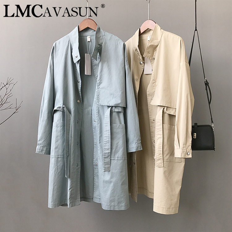 LMCAVASUN spring Woman Jacket Single Breasted Cotton Stand Collar Long Windbreaker Korean Harajuku Female Overcoat Trenchcoat