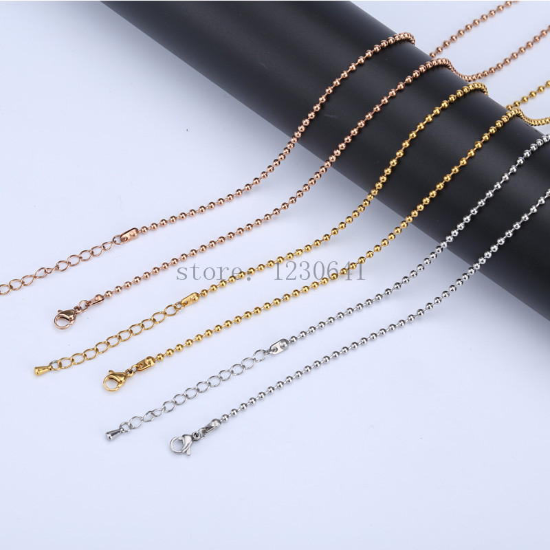 80cm bead chain high quality stainless steel ball chain for coin pendant necklace rose gold jewelry