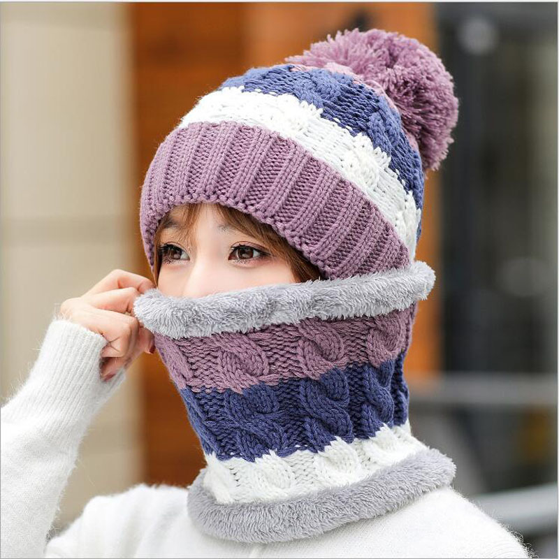 simple Balaclava Women's Knitted Hat Scarf Caps Neck Warmer Winter Hats For Men girls   Skullies     Beanies   Warm Fleece Cap 6 Colors