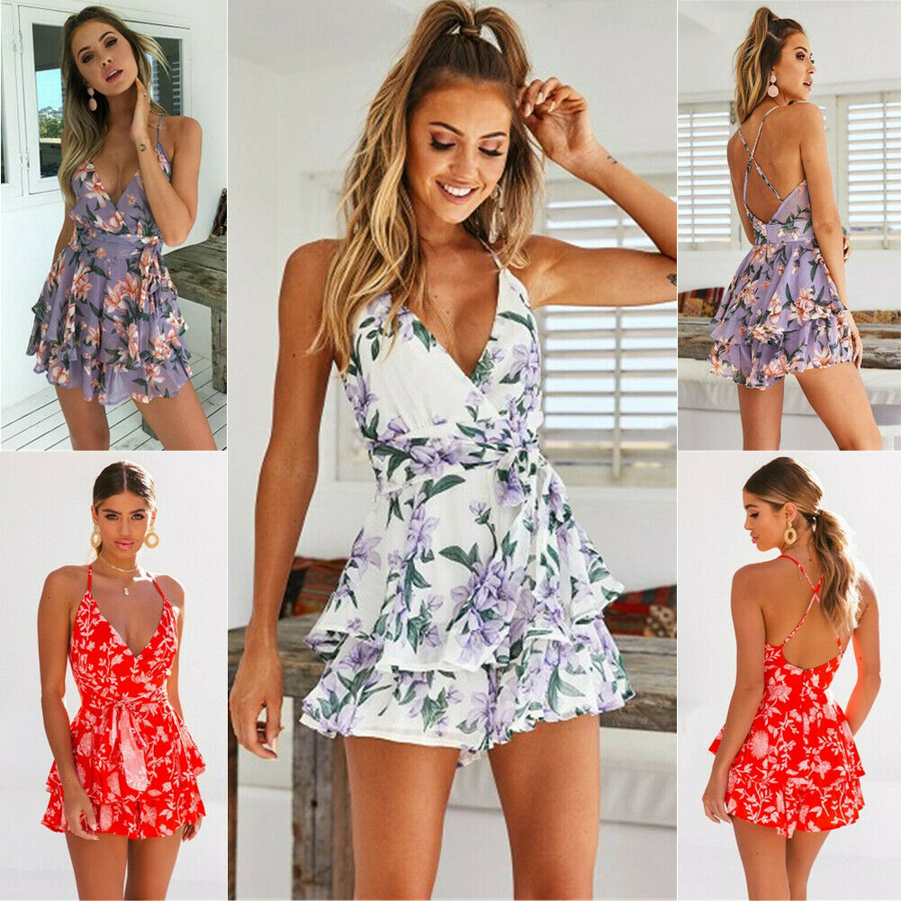 Women Summer V Neck Flower Playsuit Bodycon Party Jumpsuit Romper Beachwear in Rompers from Women 39 s Clothing