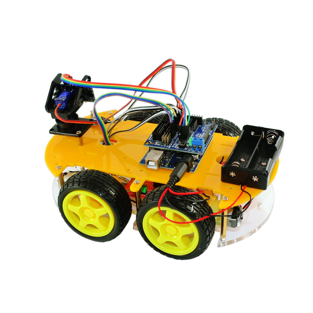 4WD Bluetooth Multi-functional DIY Smart Car For Arduino Robot Education Programming+User Manual+PDF(online)+Video