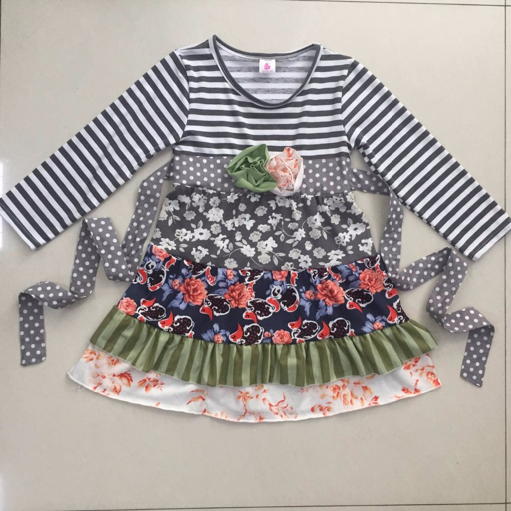 New Coming Children Stripe Long Sleeve Boutique Knitted Cotton Dress Baby Girl Fall Winter Ruffle Dress With Belt CX012
