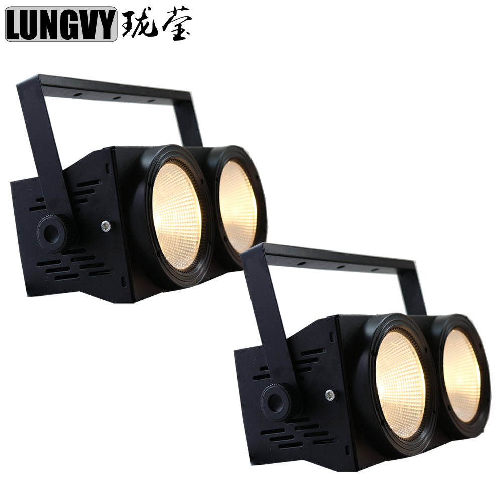 Free Shipping 2pcs Lot 200W COB LED Blinder Stage Light Warm White DMX512 Stage Effect
