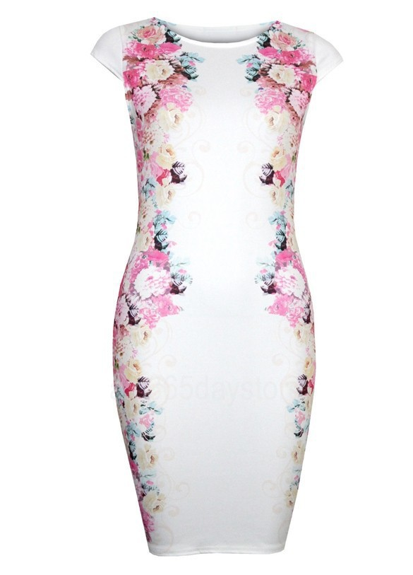 4971ac7dd645a 2017 New Fashion Floral Print Dress Women White Bandage Dress Sleeveless  Knee Length Slim Casual Dress Elegant Vestido Plus Size
