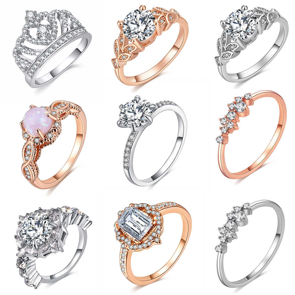 Various Style Wedding Crystal Rings Fashion Rings Show Elegant Temperament Jewelry Womens Girls White Silver Filled Wedding Ring