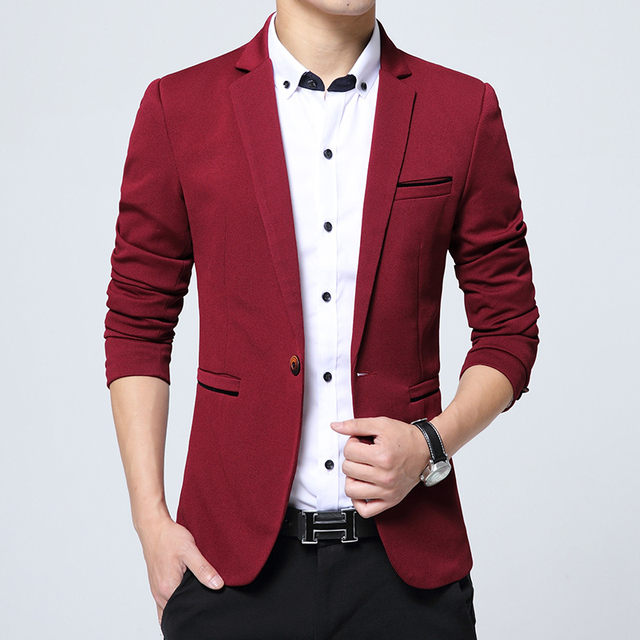 2a898db4fb45e Korean Suits For Men Slim Fit Casual Business Blazer Wedding Dress Blazer  Jacket Mens Formal Jacket