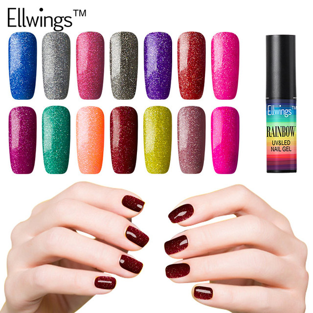 Ellwings Rainbow Sequin Star Glitter Gel Nail Polish Bling Neon Gel