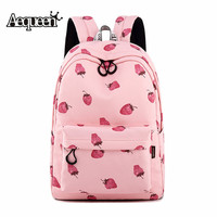 AEQUEEN Women Canvas Waterproof Backpacks For Teenagers Girls Female School Bag Laptop Pink Back Packs Book Bags Travel Mochila