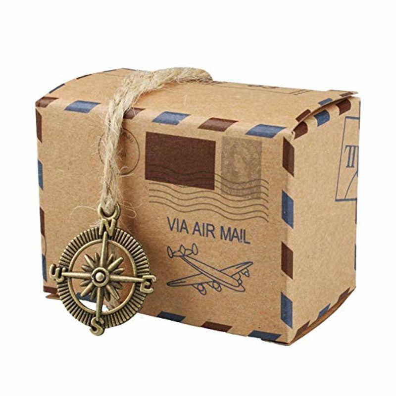 50 шт. винтажная коробка для конфет из крафт бумаги компас и Форма Земли почтовый