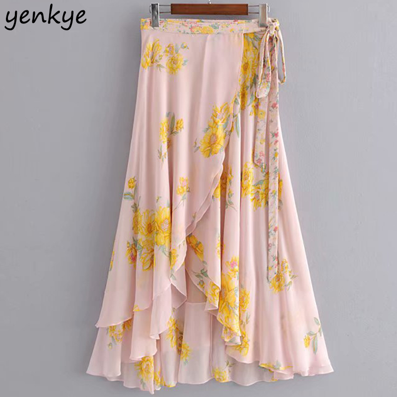 Boho Floral Print Skirts Womens Flowing Sarong-style Long Skirt Maxi Lady Front Crossover Hem Asymmetric Ruffle High Waist Skirt
