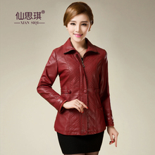 HOT autumn winter Women's fashion Thickening Leather Jacket Large Size Leather Coat Outwear leather  XL-6XL free shipping