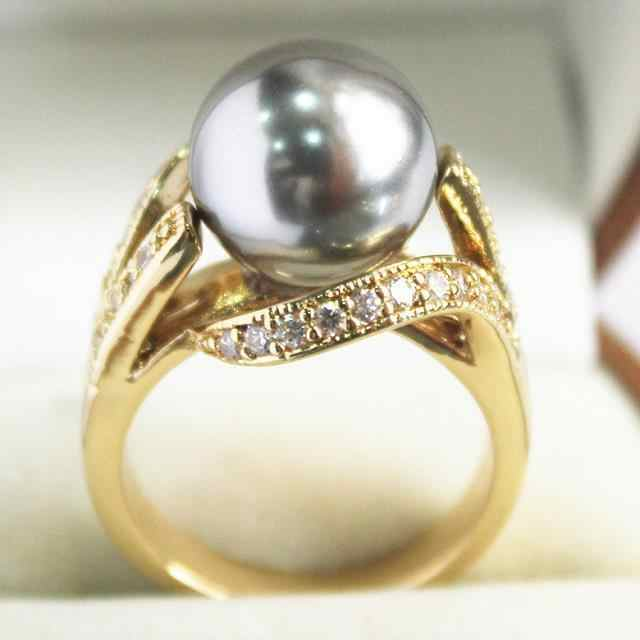 lady's  new  jewelry 18KGP with crystal decorated &12mm gray shell pearl  ring(#7.8.9)