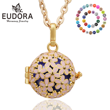 Retail Eudora Harmony Bola Ball Pendant Necklace Jewelry 18mm Pink Floral Gold Plated Angel Caller Floating Locket Pendants