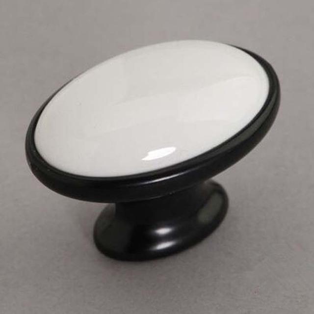 Maçaneta Da Porta Do Armário de Cerâmica branca Preto Dresser Knob Gaveta Knob Pull Móveis Maçanetas Pull Handle Moderm Branco Preto Simples