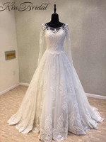 Modest Design Long Sleeve Wedding Dresses 2018 Zipper Back Lace Vintage Dress Bride Chapel Train Vestido
