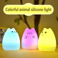 2017 Hot Sale!7 Colors Cat LED USB Children Animal Night Light Silicone Soft Cartoon Baby Nursery Lamp Breathing LED Night Light
